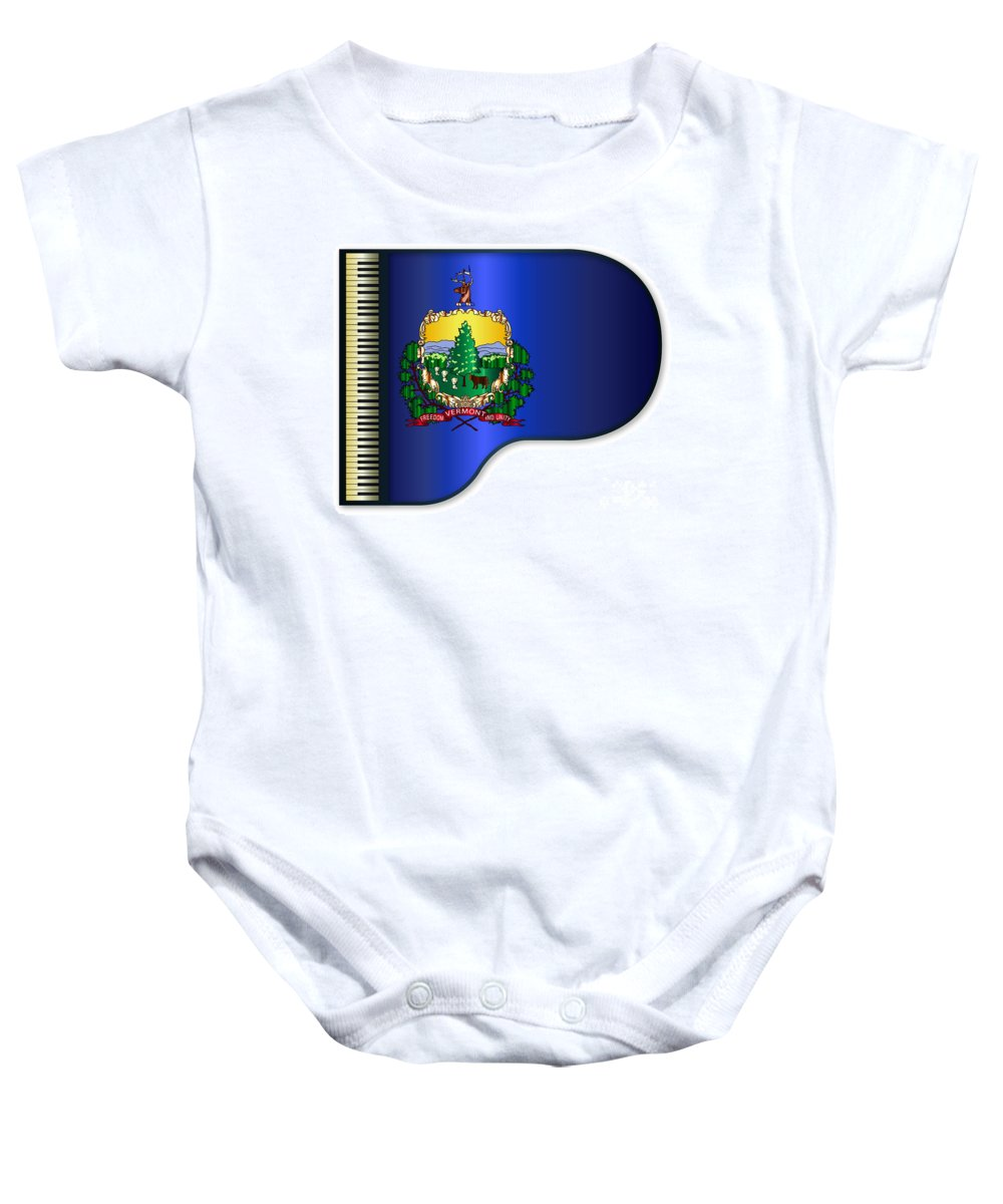 Grand Baby Onesie featuring the digital art Grand Vermont Flag by Bigalbaloo Stock