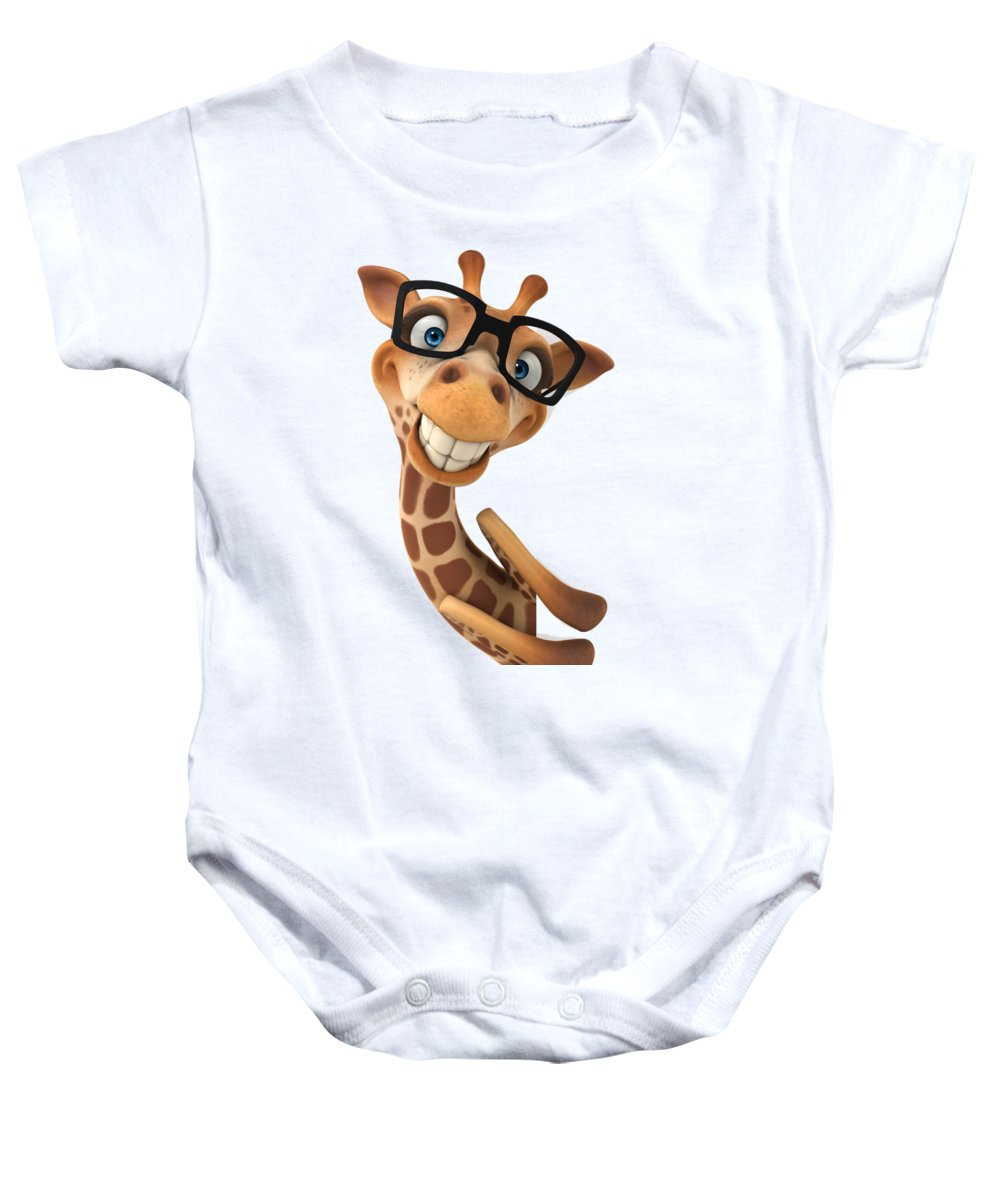 Baby Onesie featuring the digital art Happy Giraffe by Shopzify Design