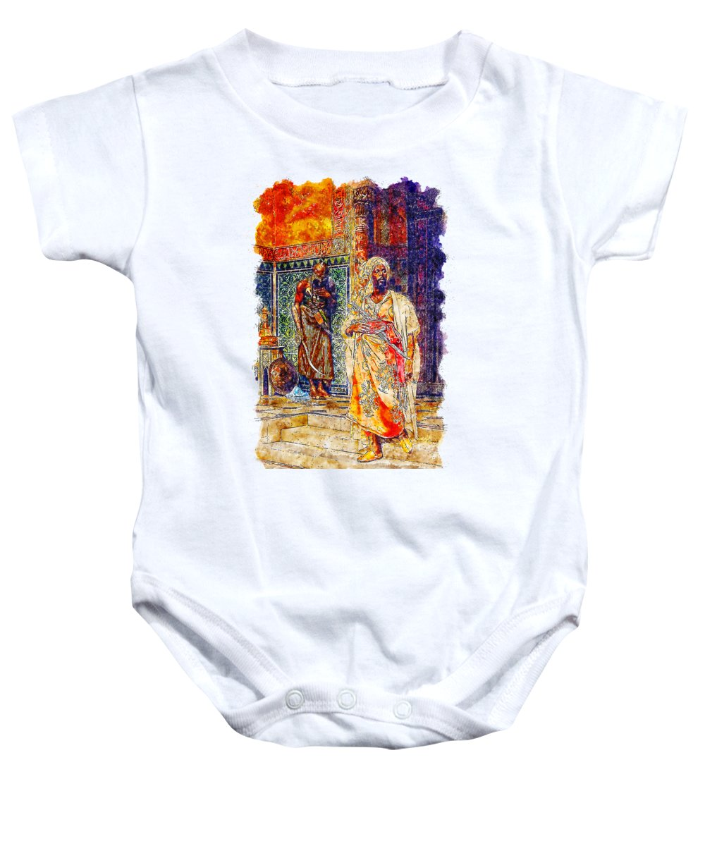 Art Baby Onesie featuring the drawing Impressionist Watercolor Drawing - Palace Door Guard by Hasan Ahmed