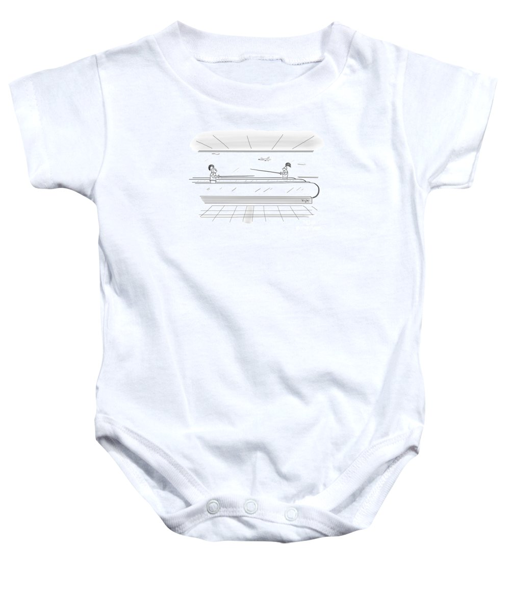 Jousting Knights Airport Cartoon Newyorker Humor Silly Joust Knight Baby Onesie featuring the digital art Jousting by Douglas Knight