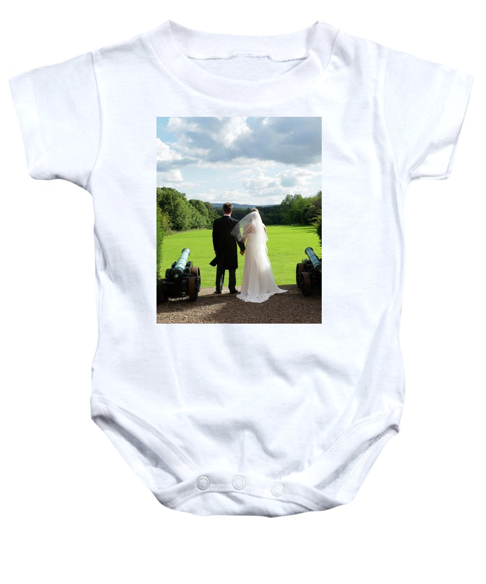 Married Baby Onesie featuring the photograph Just Married Looking To The Future by Victor Lord Denovan
