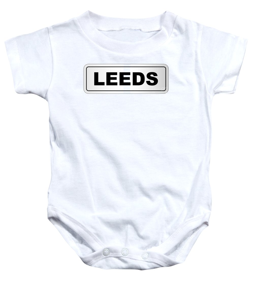 Leeds Baby Onesie featuring the digital art Leeds City Nameplate by Bigalbaloo Stock