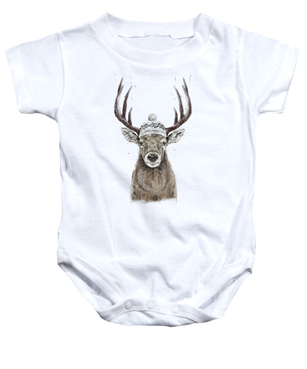 Deer Baby Onesie featuring the mixed media Let's Go Outside by Balazs Solti
