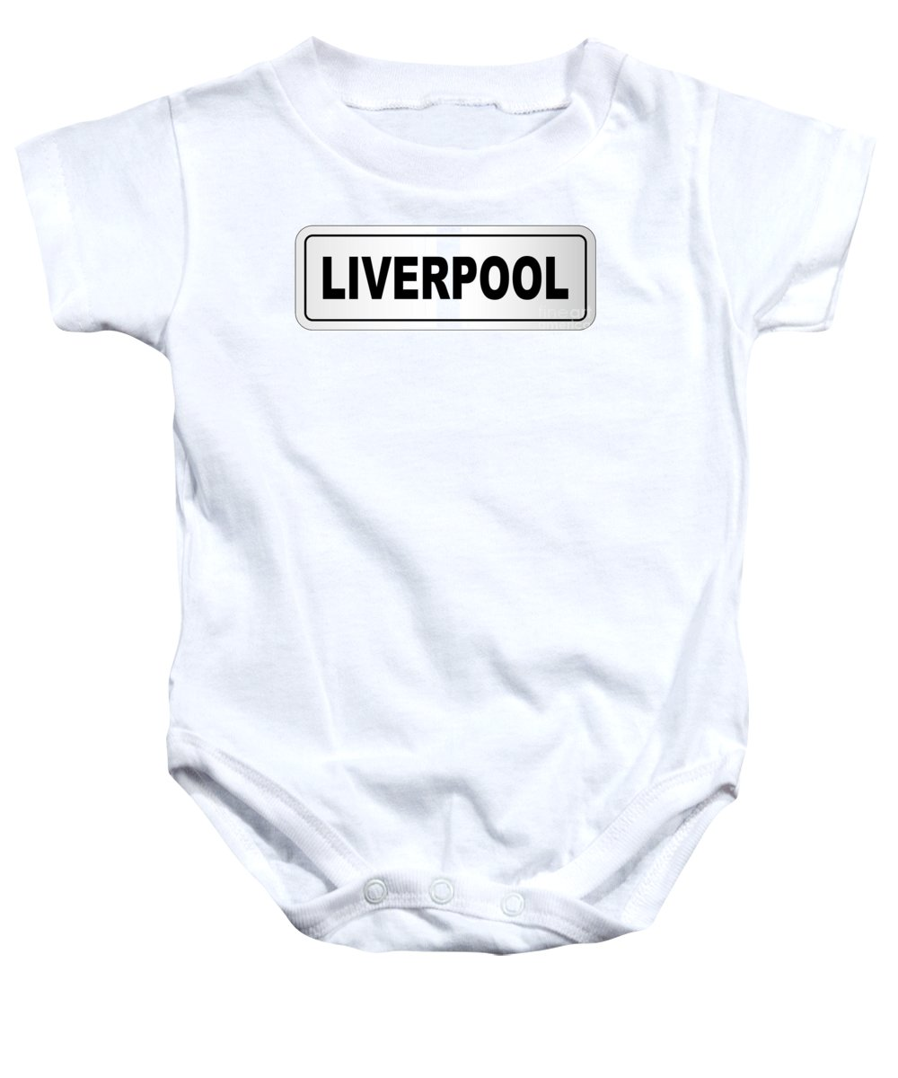 Liverpool Baby Onesie featuring the digital art Liverpool City Nameplate by Bigalbaloo Stock