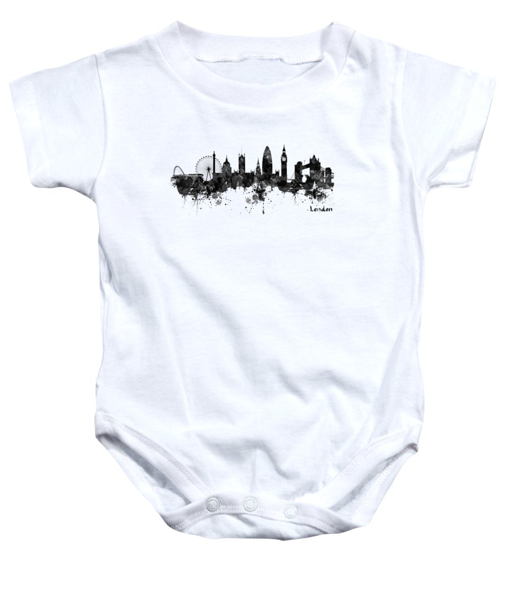London Baby Onesie featuring the painting London Black And White Watercolor Skyline Silhouette by Marian Voicu