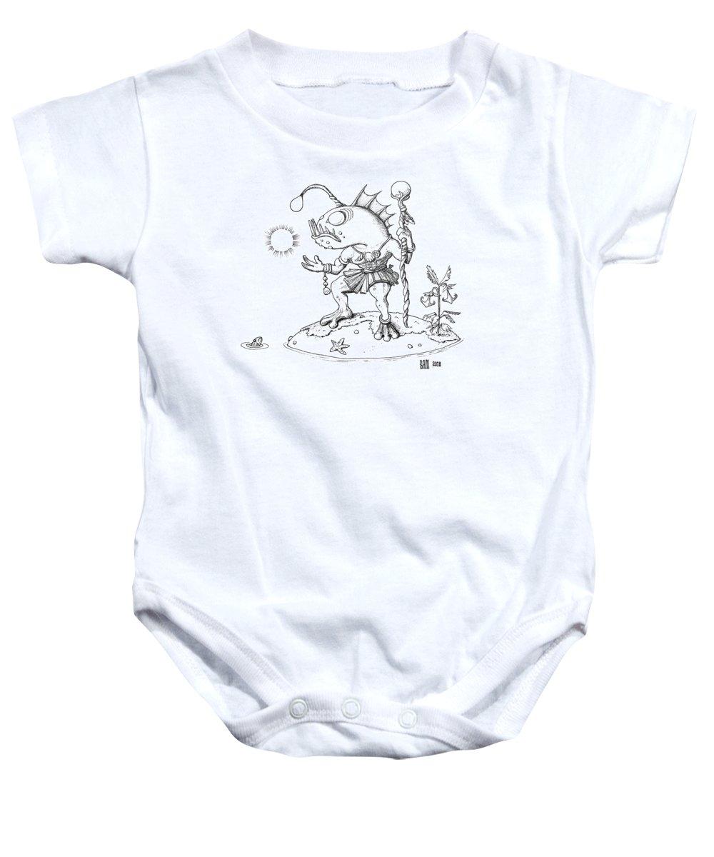 Murloc Baby Onesie featuring the drawing Murloc by Sami Matilainen