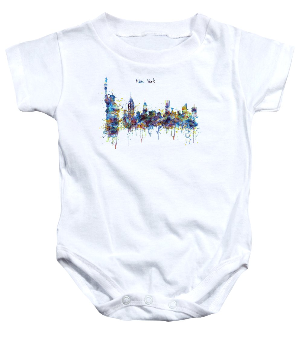 New York Baby Onesie featuring the painting New York Watercolor Skyline by Marian Voicu