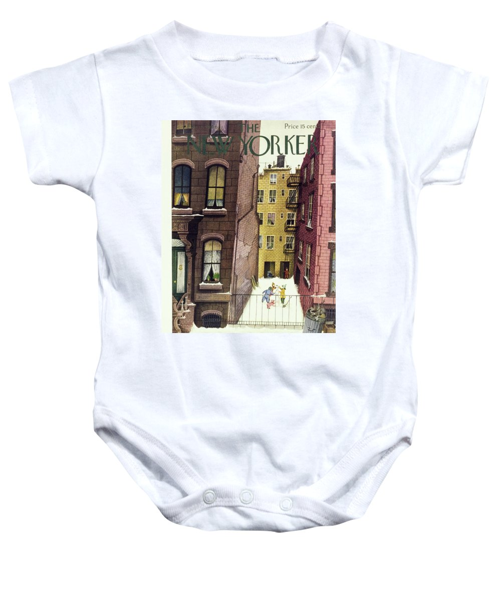 Illustration Baby Onesie featuring the painting New Yorker February 2, 1946 by Edna Eicke