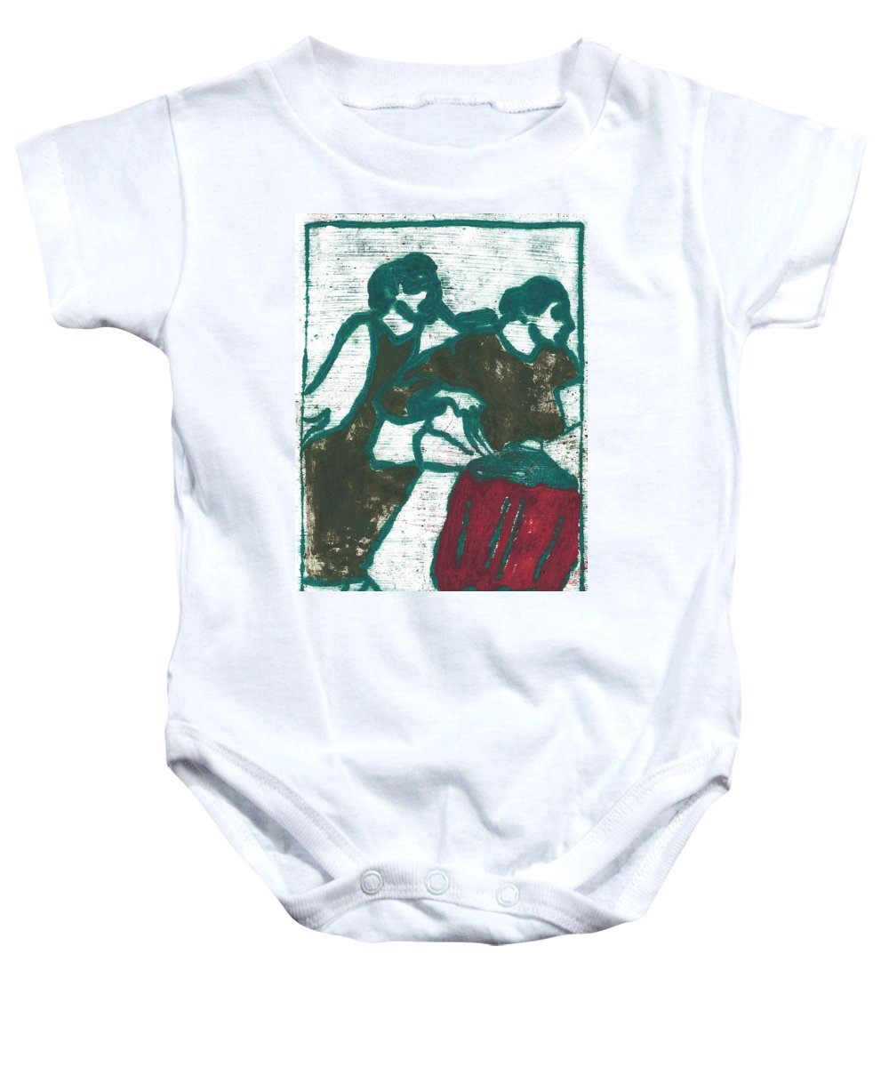 Red Baby Onesie featuring the painting Red Detachment Of Women Painting by Artist Dot