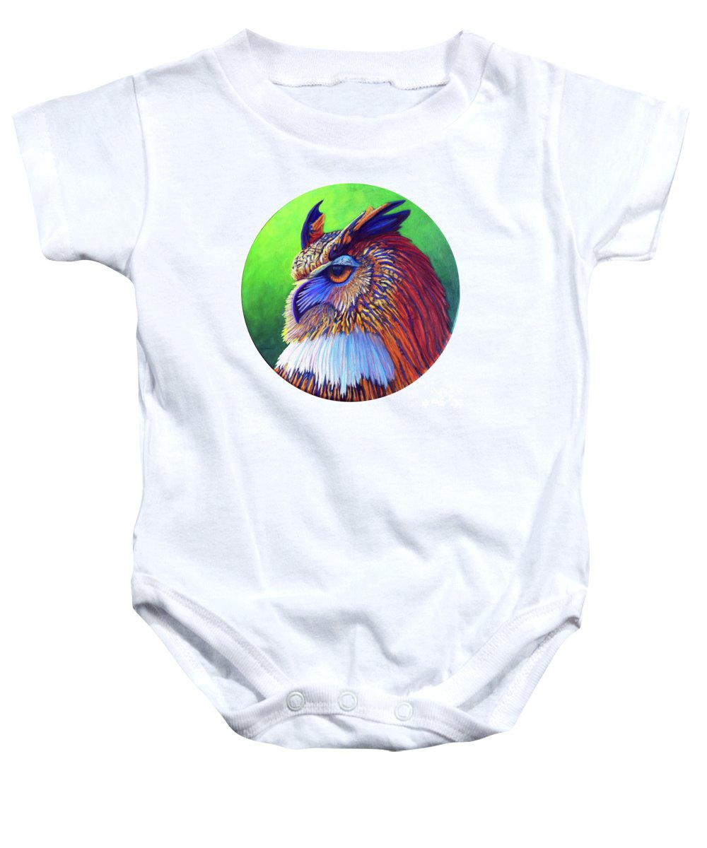 Owl Baby Onesie featuring the painting Regal Gaze by Brian Commerford
