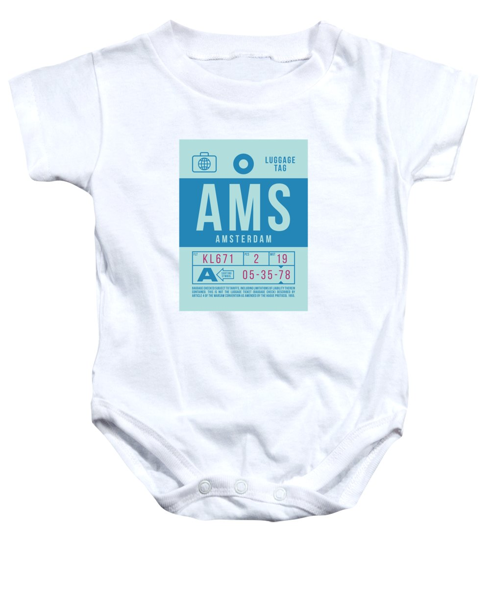Airline Baby Onesie featuring the digital art Retro Airline Luggage Tag 2.0 - Ams Amsterdam Netherlands by Ivan Krpan