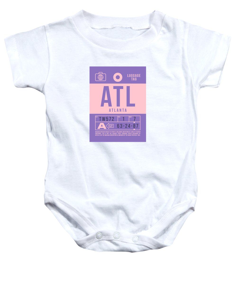 Airline Baby Onesie featuring the digital art Retro Airline Luggage Tag 2.0 - Atl Atlanta United States by Ivan Krpan