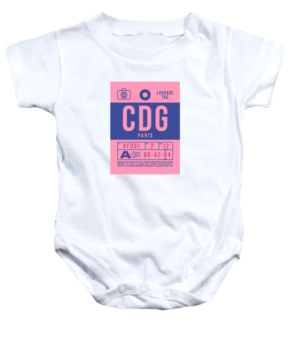 Airline Baby Onesie featuring the digital art Retro Airline Luggage Tag 2.0 - Cdg Paris Charles De Gaulle France by Ivan Krpan