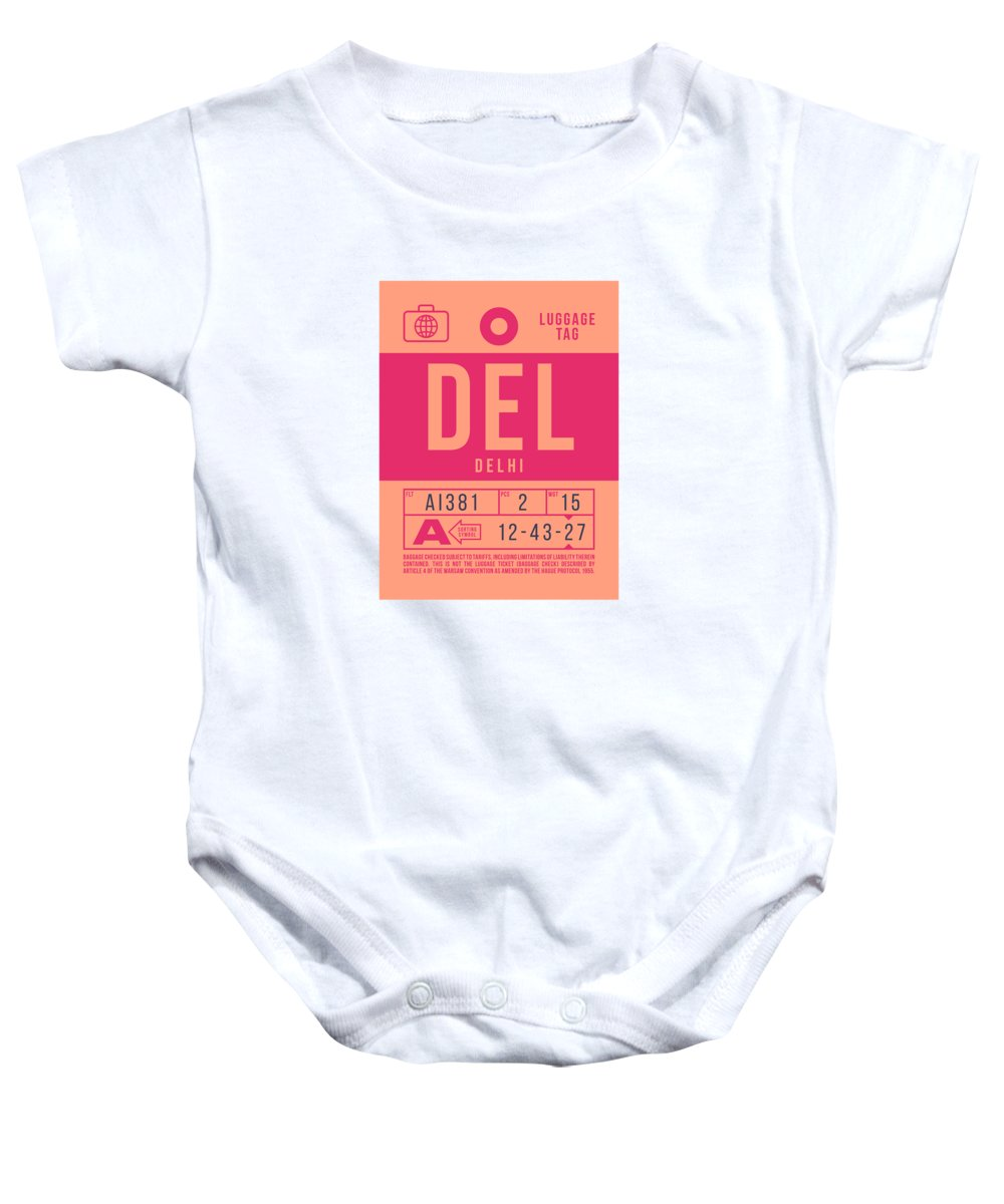 Airline Baby Onesie featuring the digital art Retro Airline Luggage Tag 2.0 - Del Delhi India by Ivan Krpan