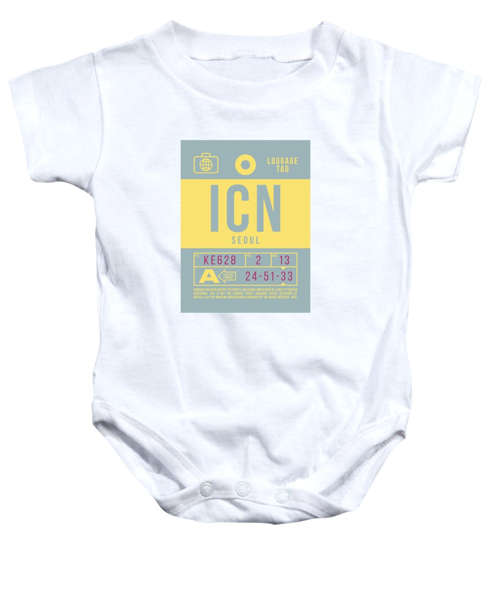 Airline Baby Onesie featuring the digital art Retro Airline Luggage Tag 2.0 - Icn Seoul Korea by Ivan Krpan