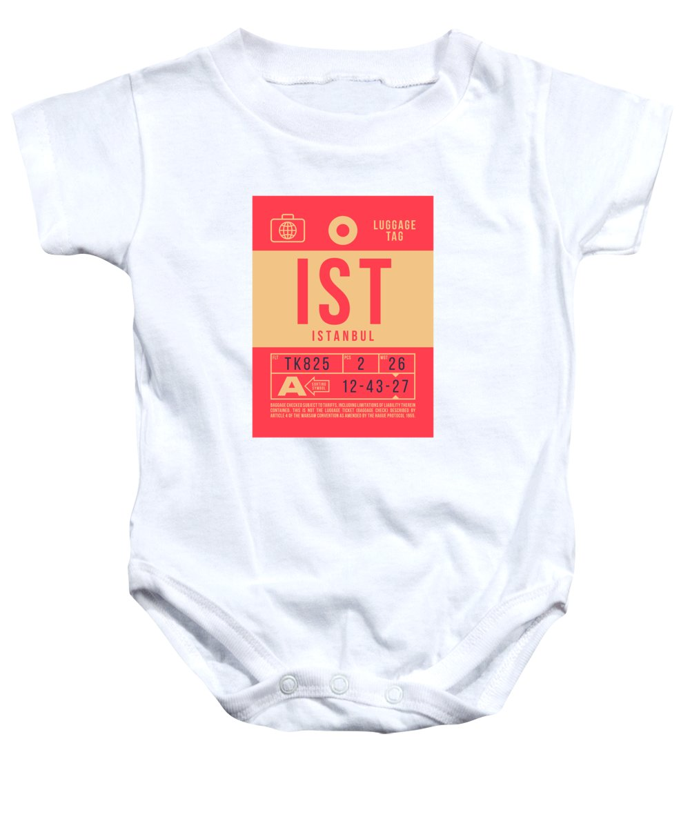 Airline Baby Onesie featuring the digital art Retro Airline Luggage Tag 2.0 - Ist Istanbul Turkey by Ivan Krpan