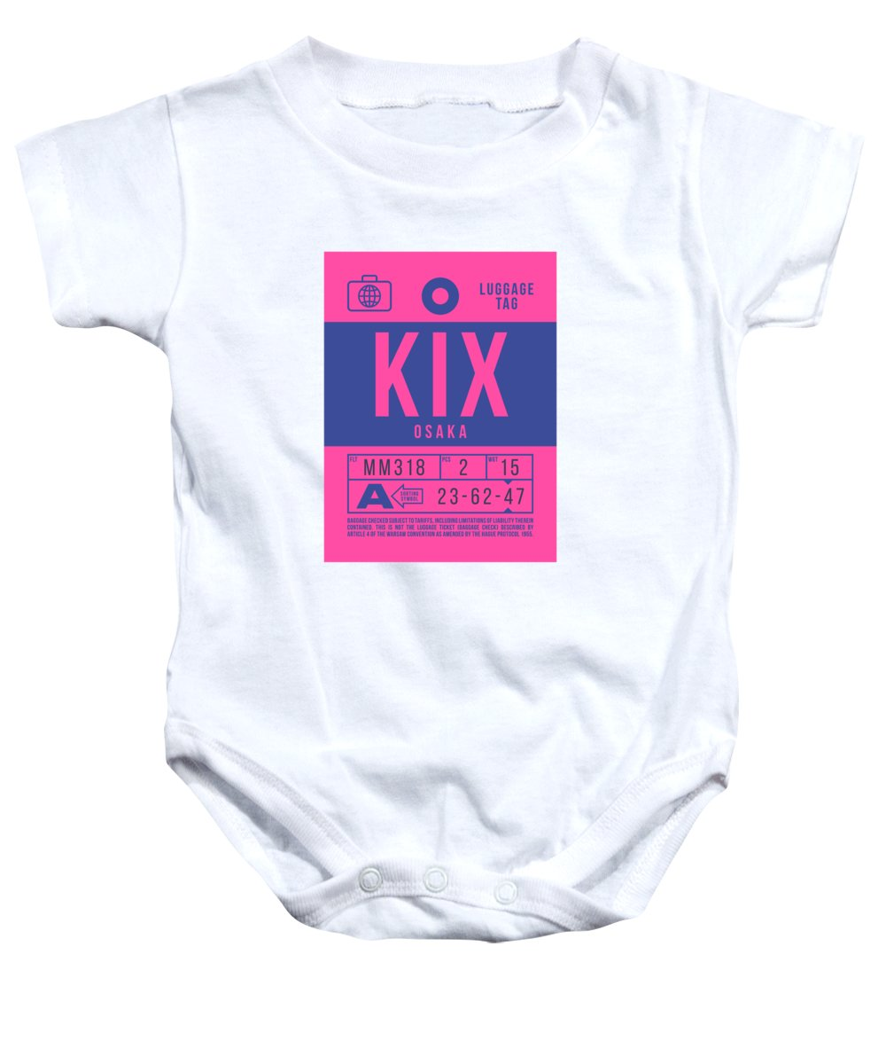 Airline Baby Onesie featuring the digital art Retro Airline Luggage Tag 2.0 - Kix Osaka Kansai Japan by Ivan Krpan