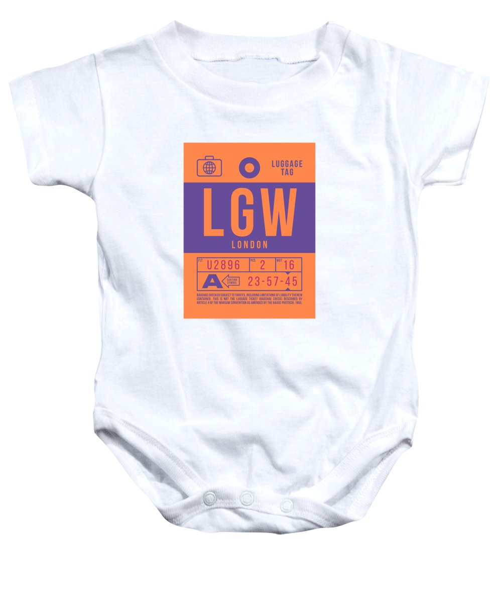 Airline Baby Onesie featuring the digital art Retro Airline Luggage Tag 2.0 - Lgw London Gatwick Airport United Kingdom by Ivan Krpan