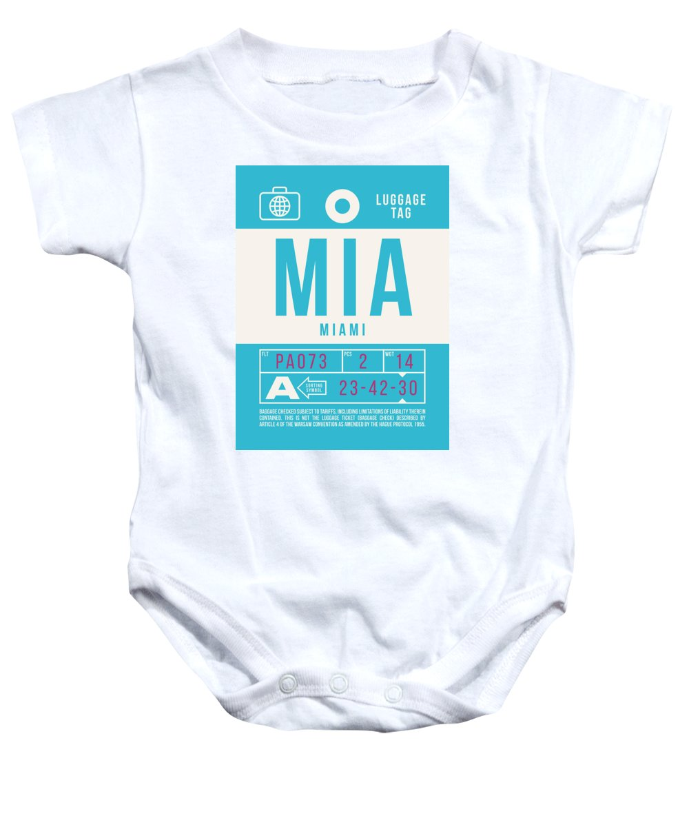 Airline Baby Onesie featuring the digital art Retro Airline Luggage Tag 2.0 - Mia Miami International Airport United States by Ivan Krpan