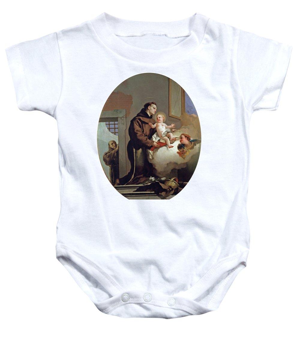 Tiepolo Giambattista Baby Onesie featuring the painting San Antonio De Padua Con El Nino Jes S  by Tiepolo Giambattista