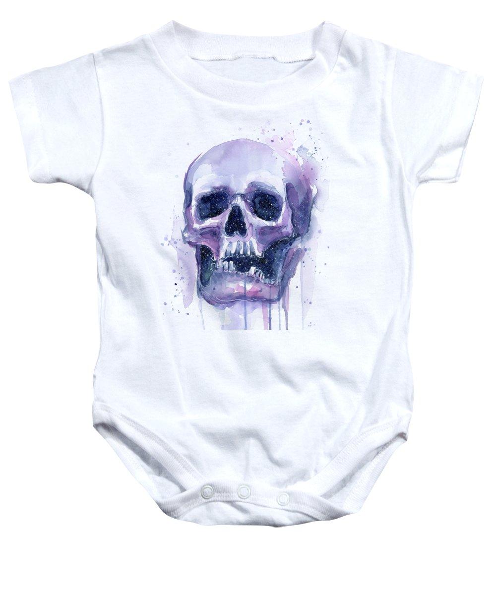 Space Baby Onesie featuring the painting Skull In Space by Olga Shvartsur