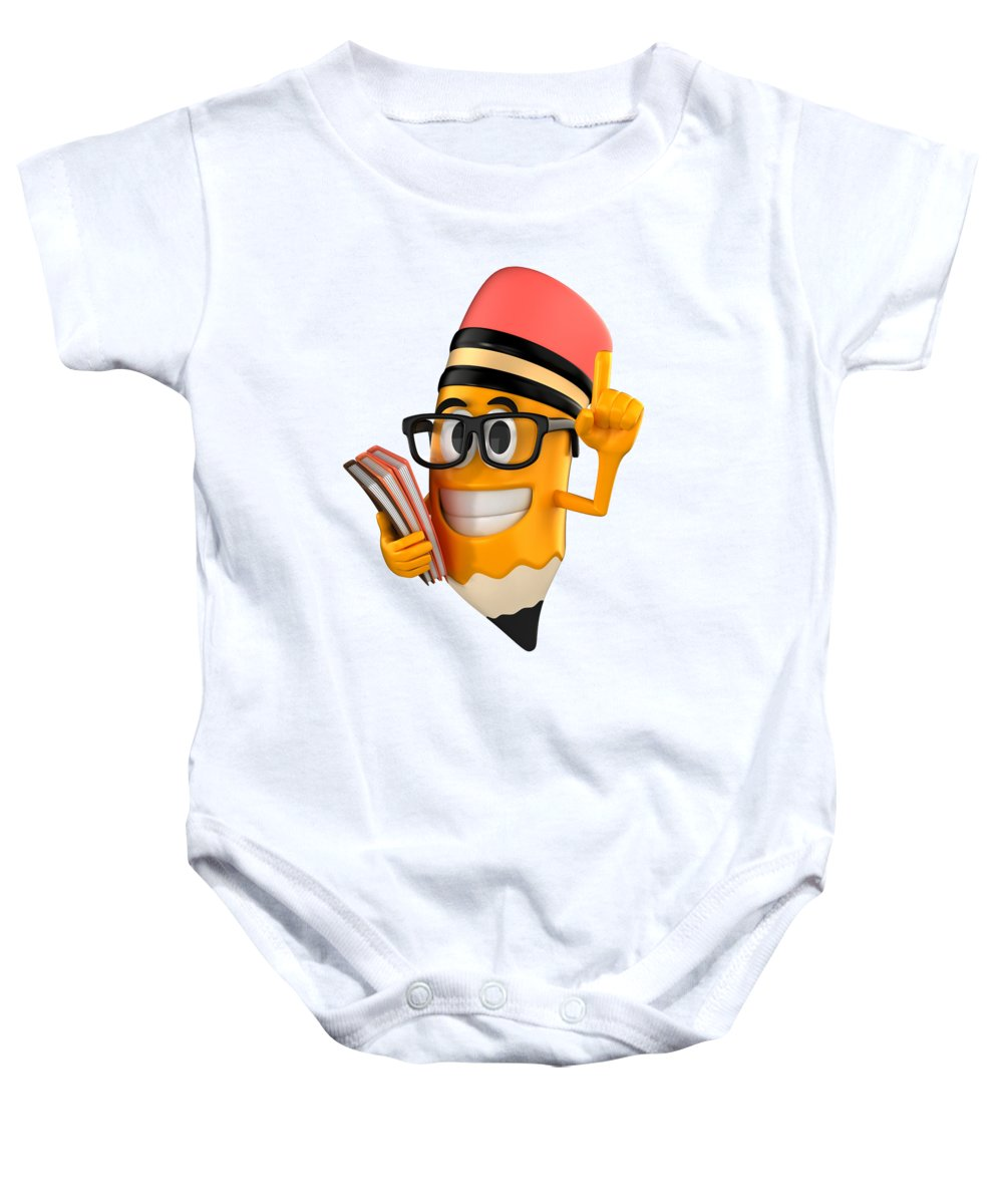 Baby Onesie featuring the digital art Smart Pencil by Shopzify Design