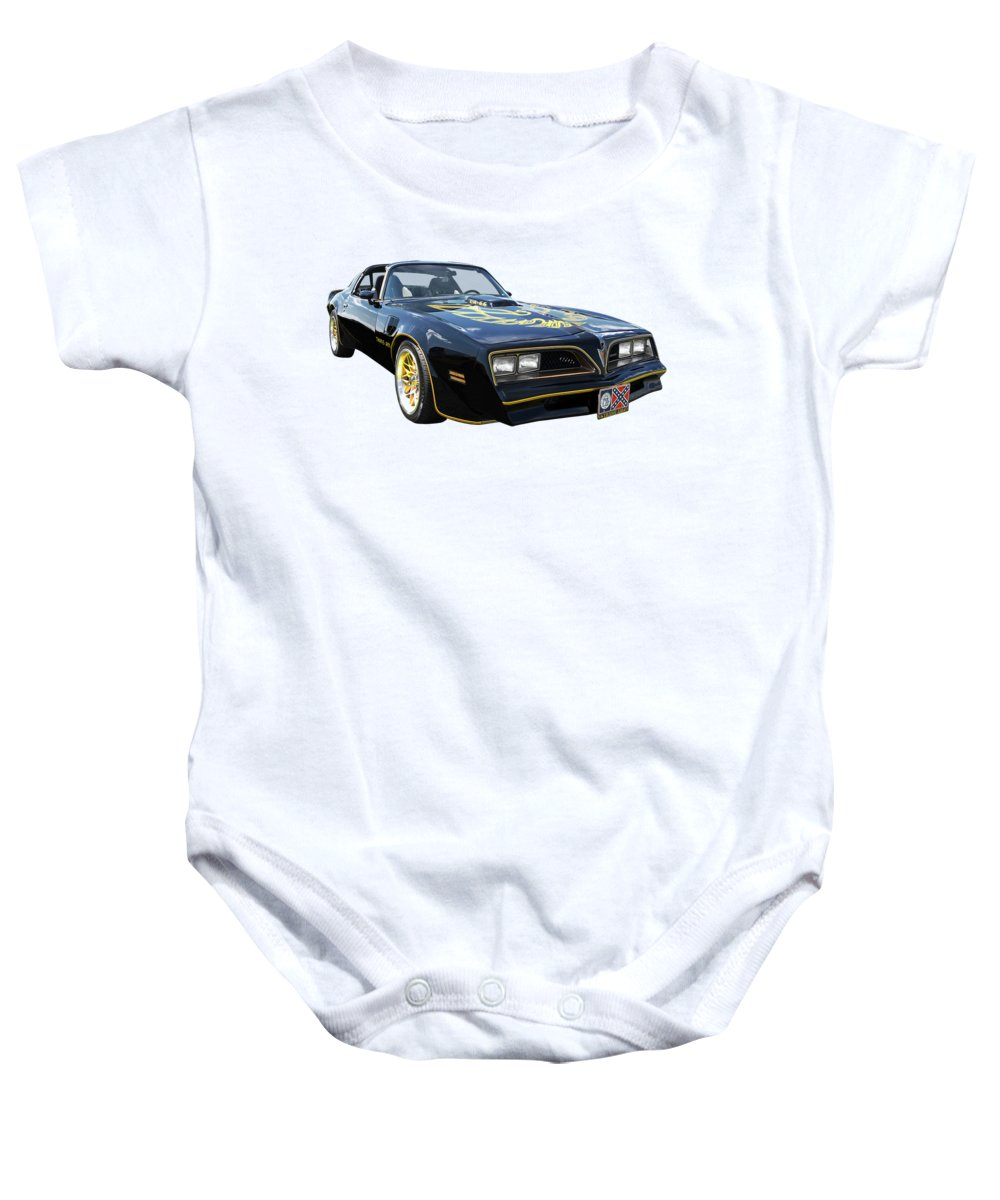 Pontiac Firebird Baby Onesie featuring the photograph Smokey And The Bandit Trans Am by Gill Billington