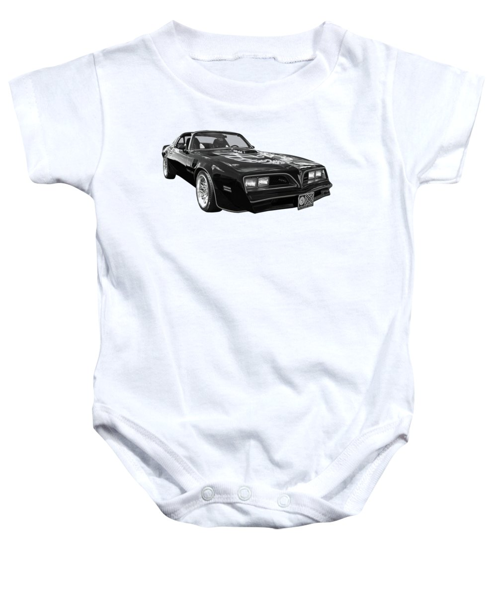 Pontiac Firebird Baby Onesie featuring the photograph Smokey And The Bandit Trans Am In Mono by Gill Billington