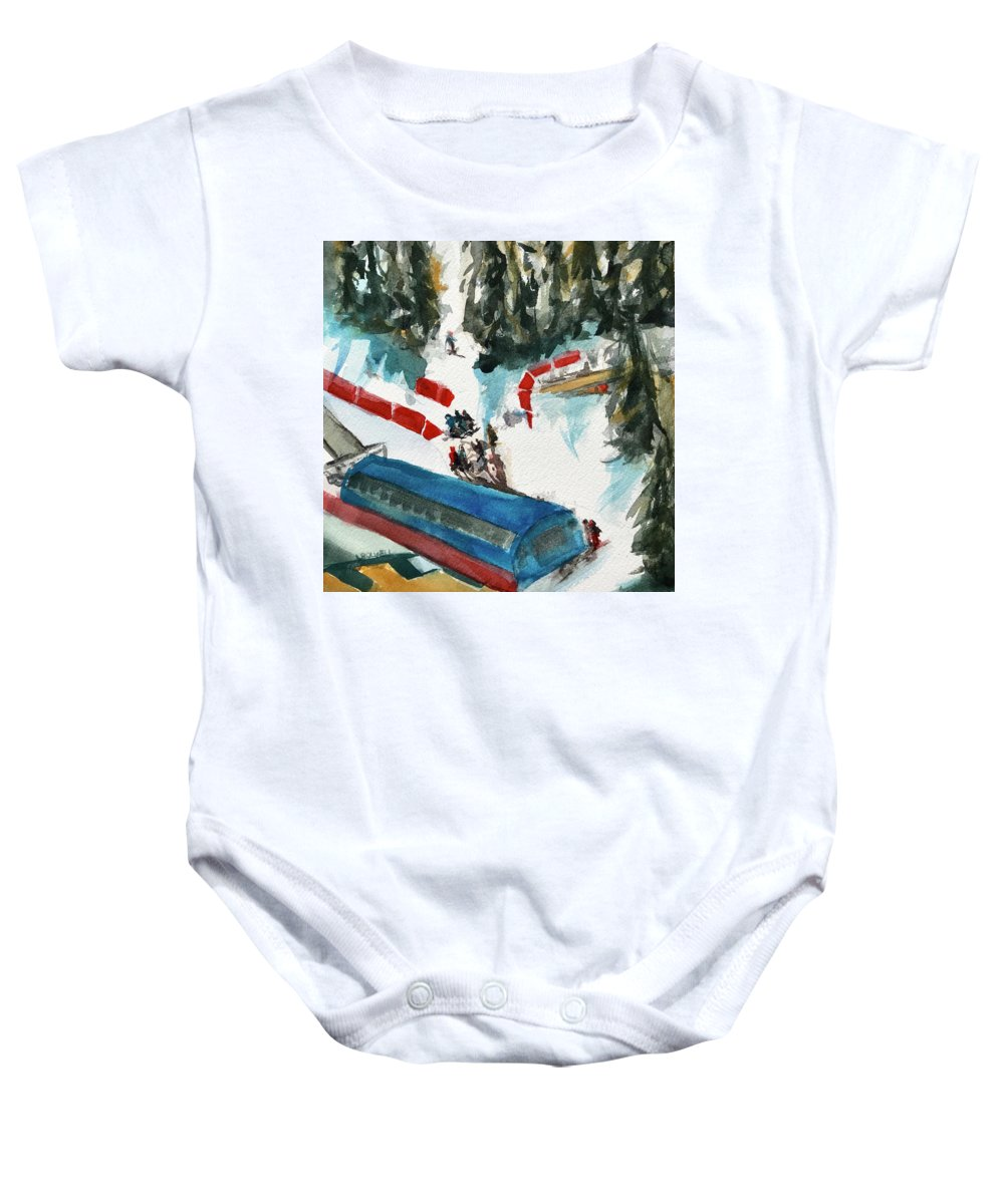 Skiing Baby Onesie featuring the painting Snowbird Lift Study by Lynne Bolwell