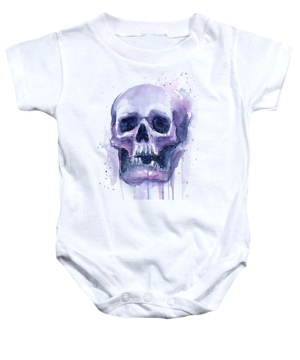 Galaxy Baby Onesie featuring the painting Space Skull by Olga Shvartsur