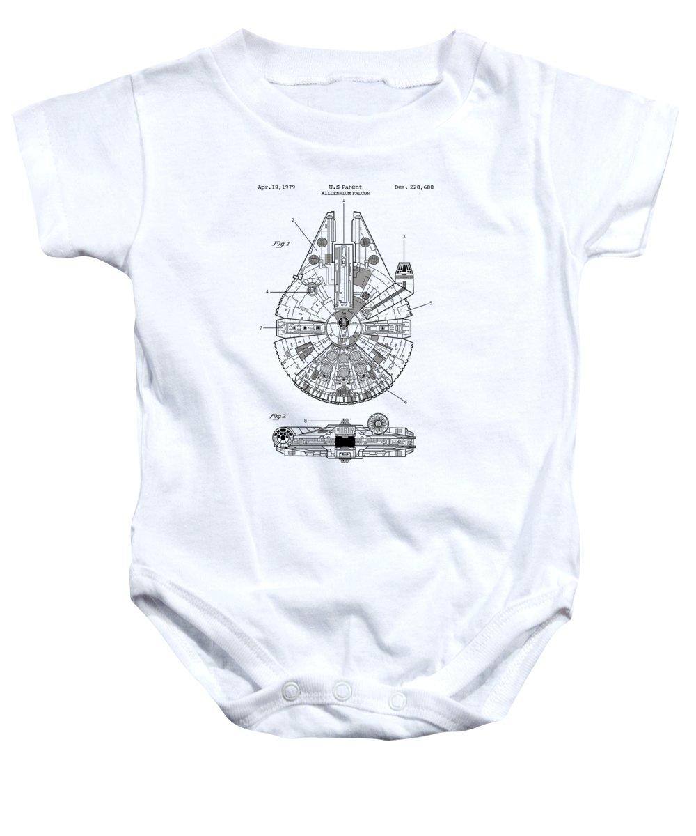 Star Wars Baby Onesie featuring the digital art Star Wars Millennium Falcon Patent by Zapista Zapista