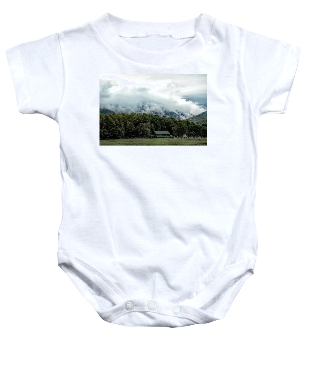 Autumn Baby Onesie featuring the photograph Steaming White Mountains by Jeff Folger