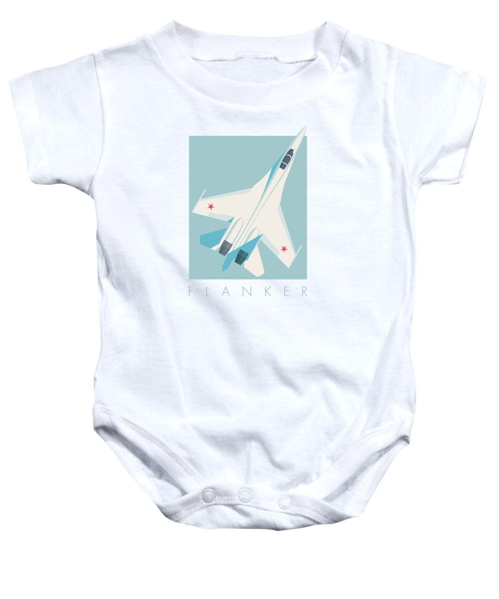 Jet Baby Onesie featuring the digital art Su-27 Flanker Fighter Jet Aircraft - Sky by Ivan Krpan