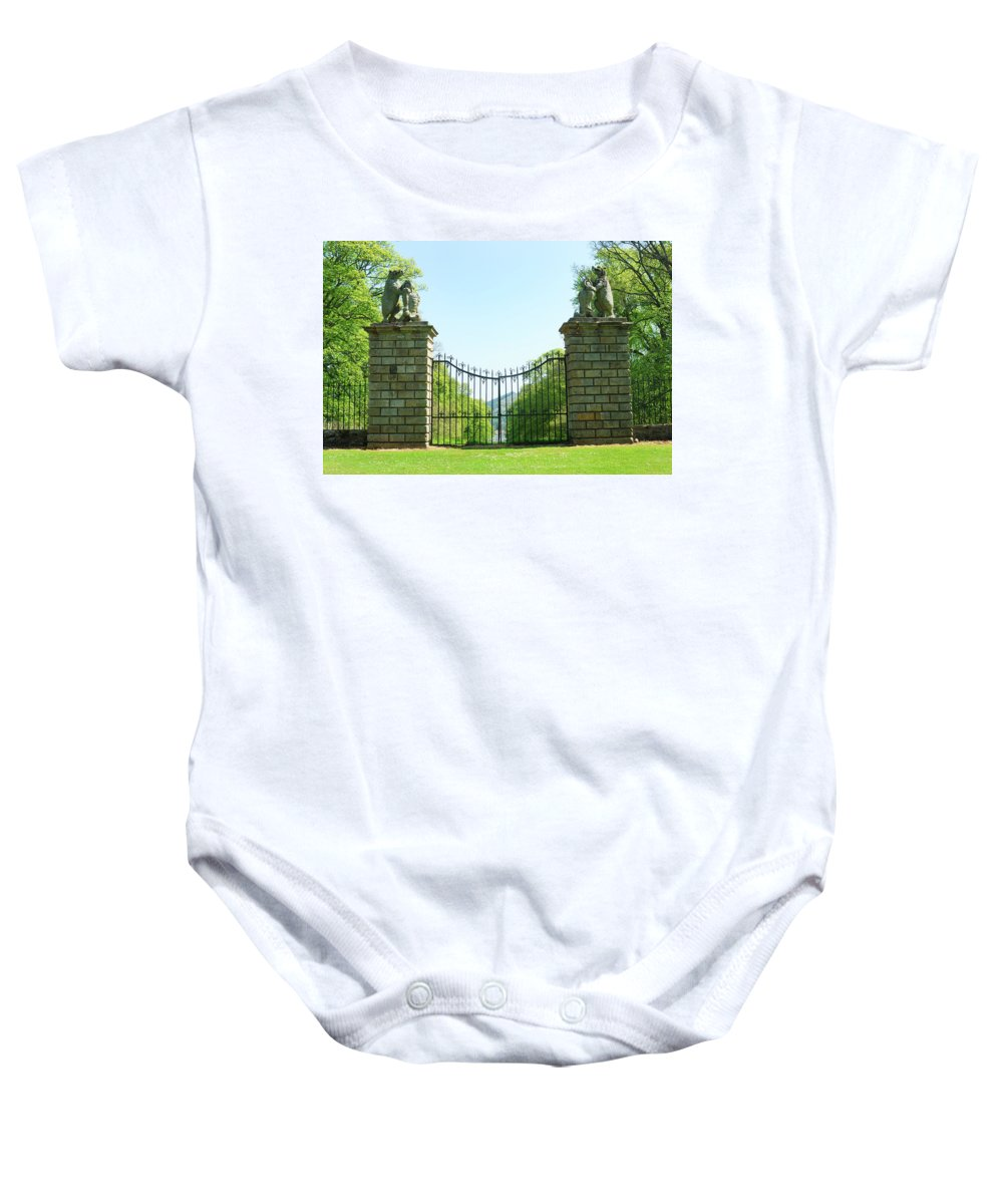 Gates Baby Onesie featuring the photograph The Bear Gates At Traquair by Victor Lord Denovan