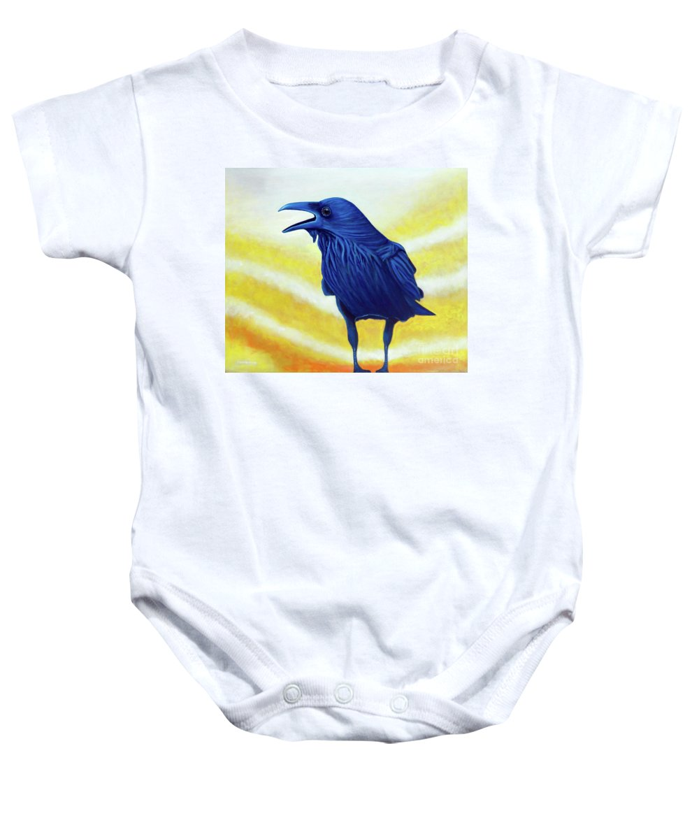Raven Baby Onesie featuring the painting The Conversation by Brian Commerford