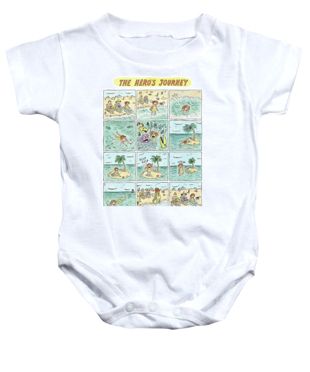 The Hero's Journey Baby Onesie featuring the drawing The Heros Journey by Roz Chast