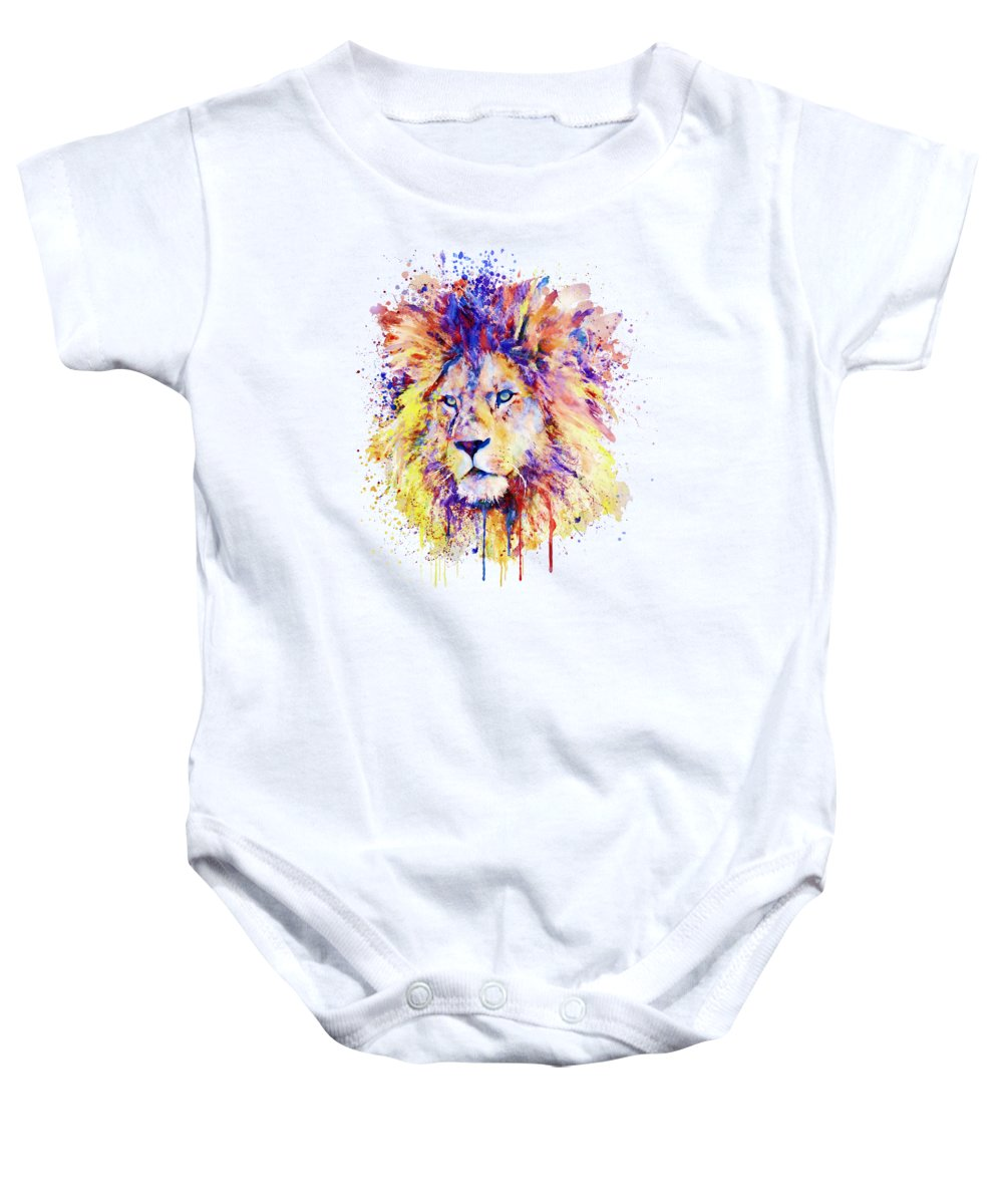 Lion Baby Onesie featuring the painting The New King by Marian Voicu
