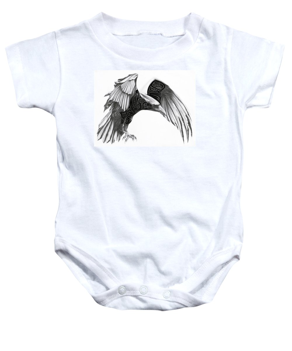 Raven Baby Onesie featuring the drawing The Raven by Terry Thomson