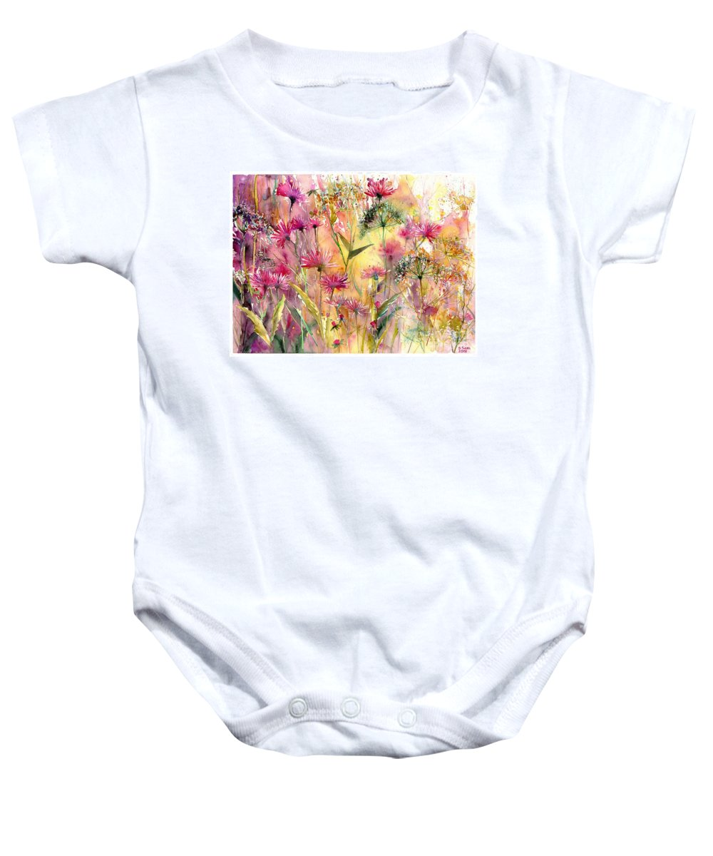 Pink Baby Onesie featuring the painting Thistles Impression by Suzann Sines