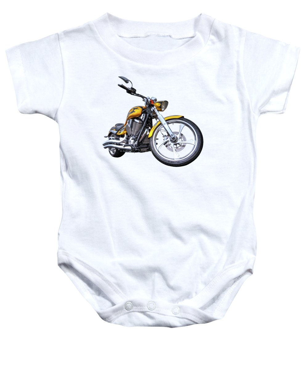 Motorcycle Baby Onesie featuring the photograph Victory Motorcycle 106 by Gill Billington