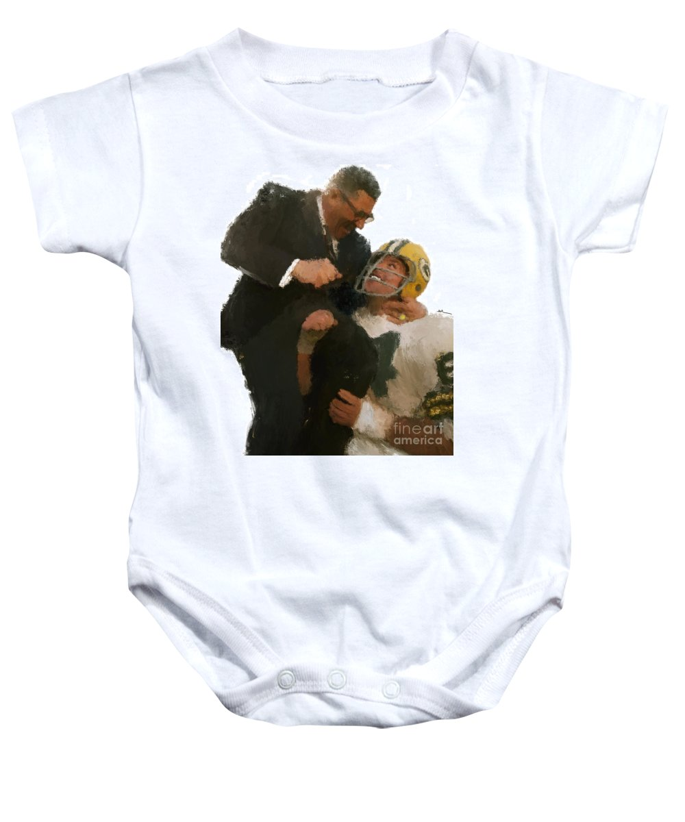 Lombardi Baby Onesie featuring the painting Vince Lombardi by Jack Bunds