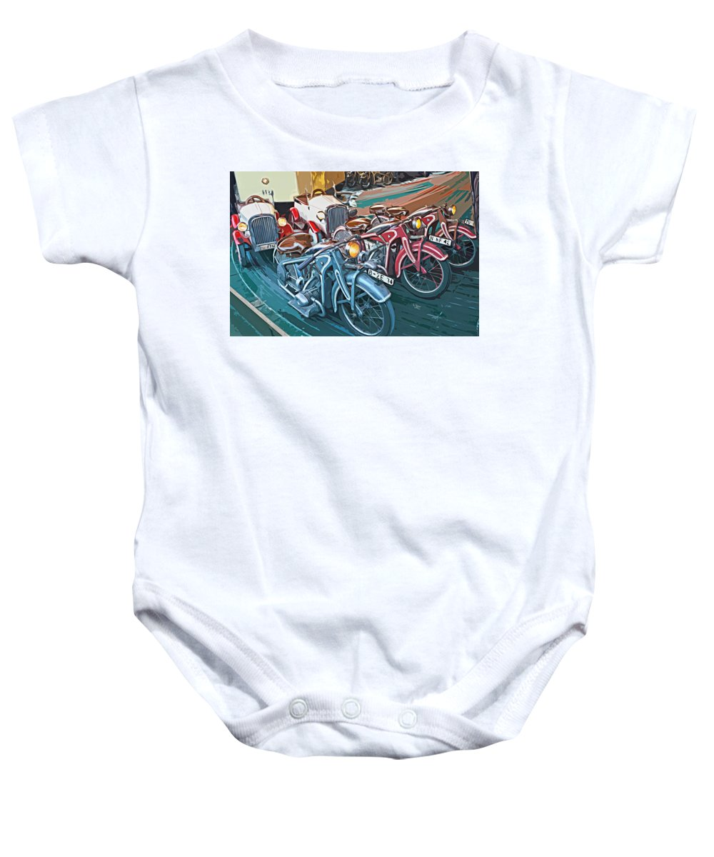Carousel Baby Onesie featuring the painting Vintage Carousel by ArtMarketJapan