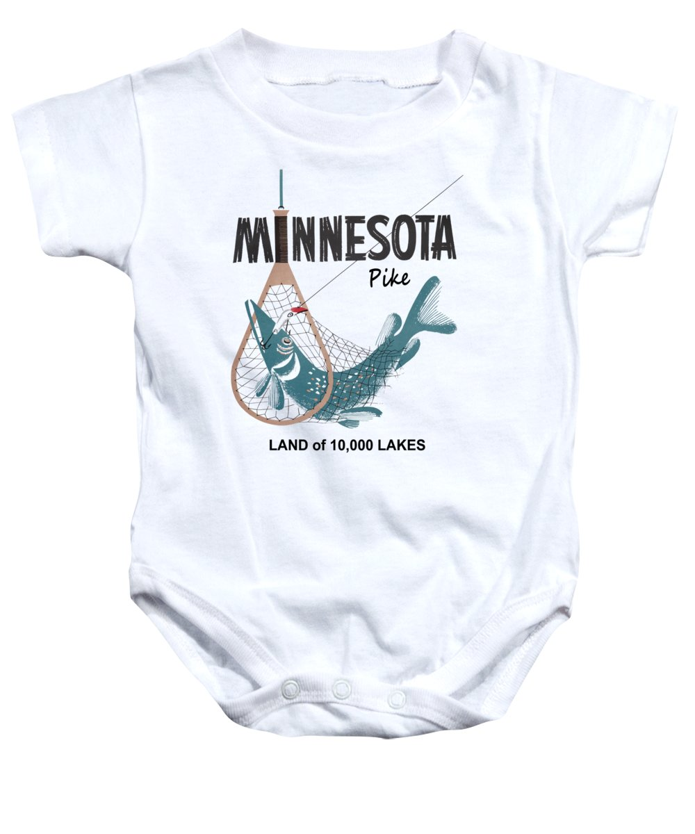 Minnesota Baby Onesie featuring the photograph Vintage Minnesota Pike Fishing - T-shirt by Daniel Hagerman