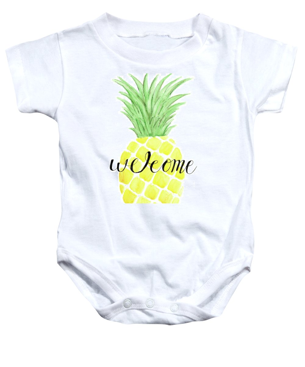 Pineapple Baby Onesie featuring the painting Welcome by Elizabeth Vaughn
