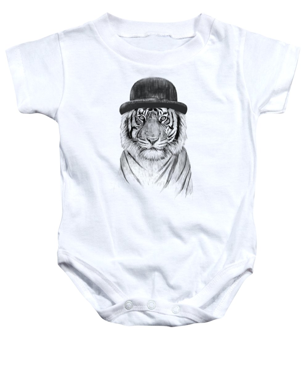 Tiger Baby Onesie featuring the drawing Welcome To The Jungle by Balazs Solti