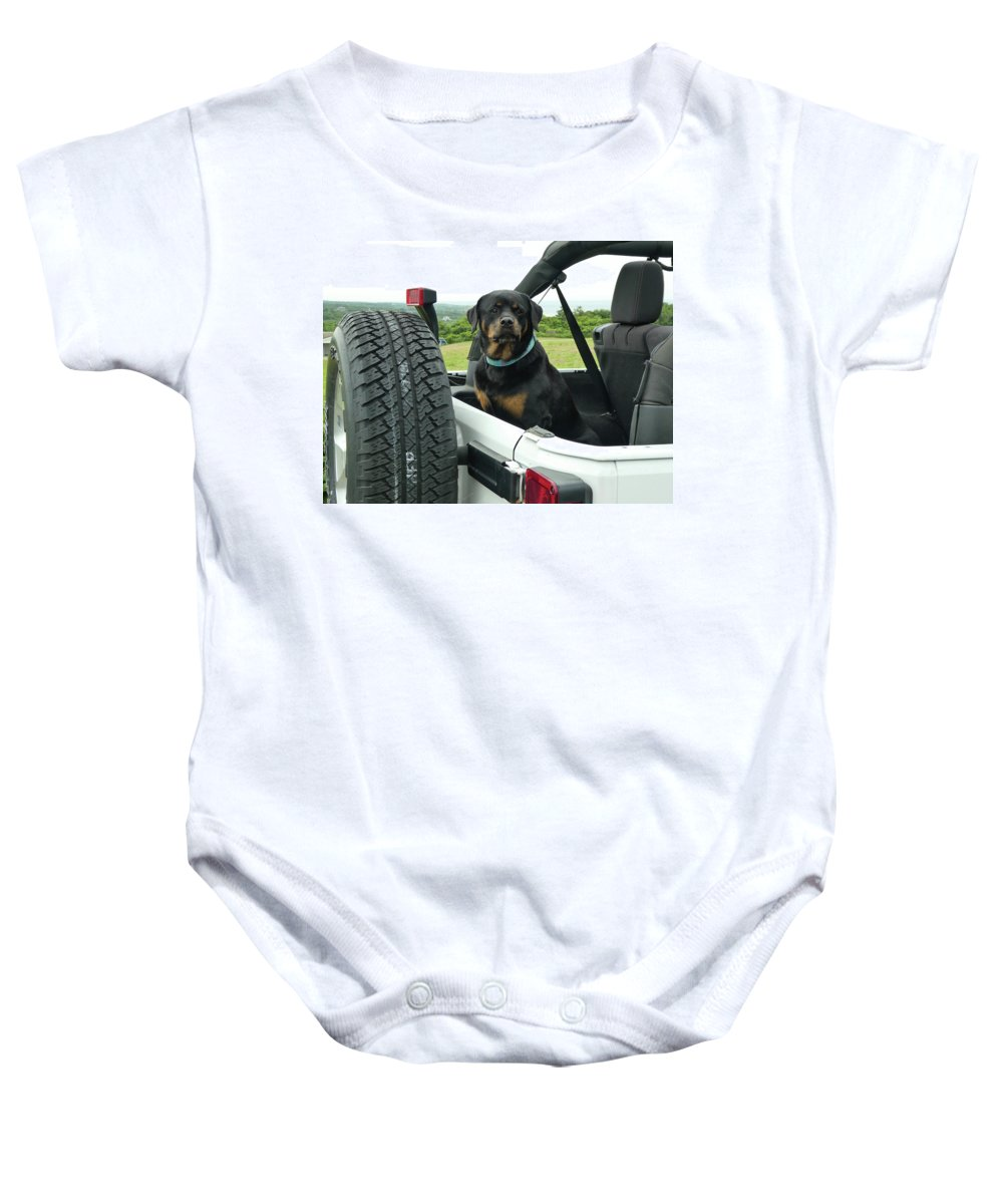 Rottweiler Baby Onesie featuring the photograph Who's A Good Boy? by Barbara Garofano