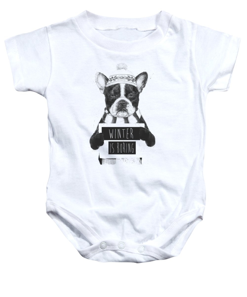 Bulldog Baby Onesie featuring the mixed media Winter is boring by Balazs Solti