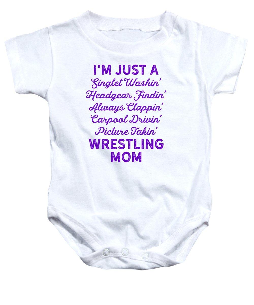 Wrestle Baby Onesie featuring the digital art Wrestling Singlet Washin Mom Purple Gift Dark by J P