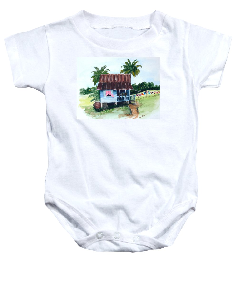 Landscape Painting Caribbean House Painting Blue House Painting Trinidad And Tobago Painting Greeting Card Painting Island Painting Tropical House Painting Blue Painting Baby Onesie featuring the painting Little Blue House by Karin Dawn Kelshall- Best