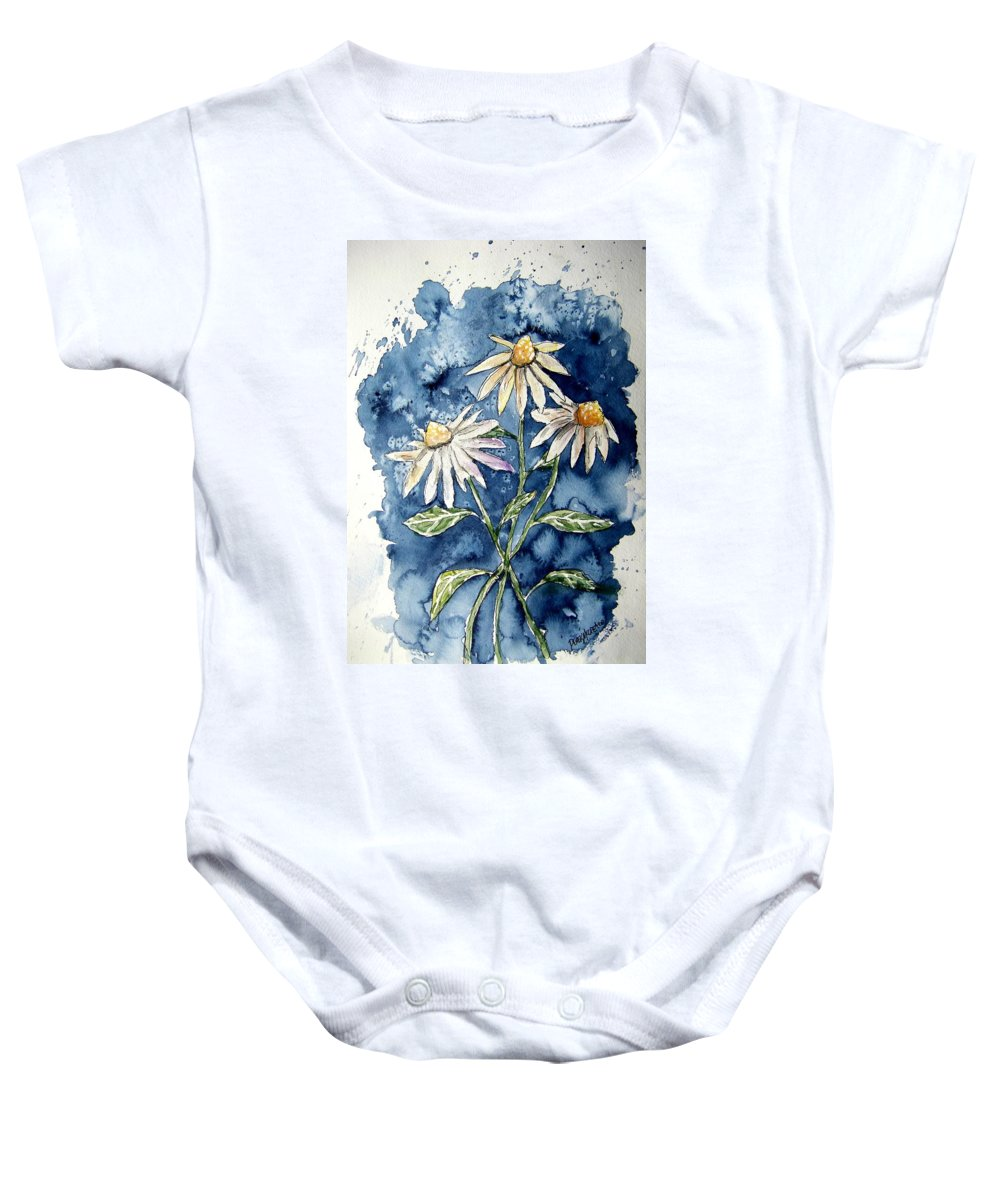 Daisy Baby Onesie featuring the painting 3 Daisies Flower Art by Derek Mccrea